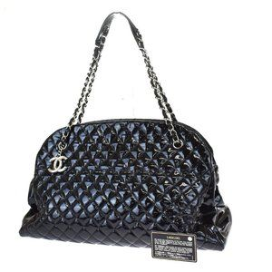 Authentic CHANEL black patent quilted bowling